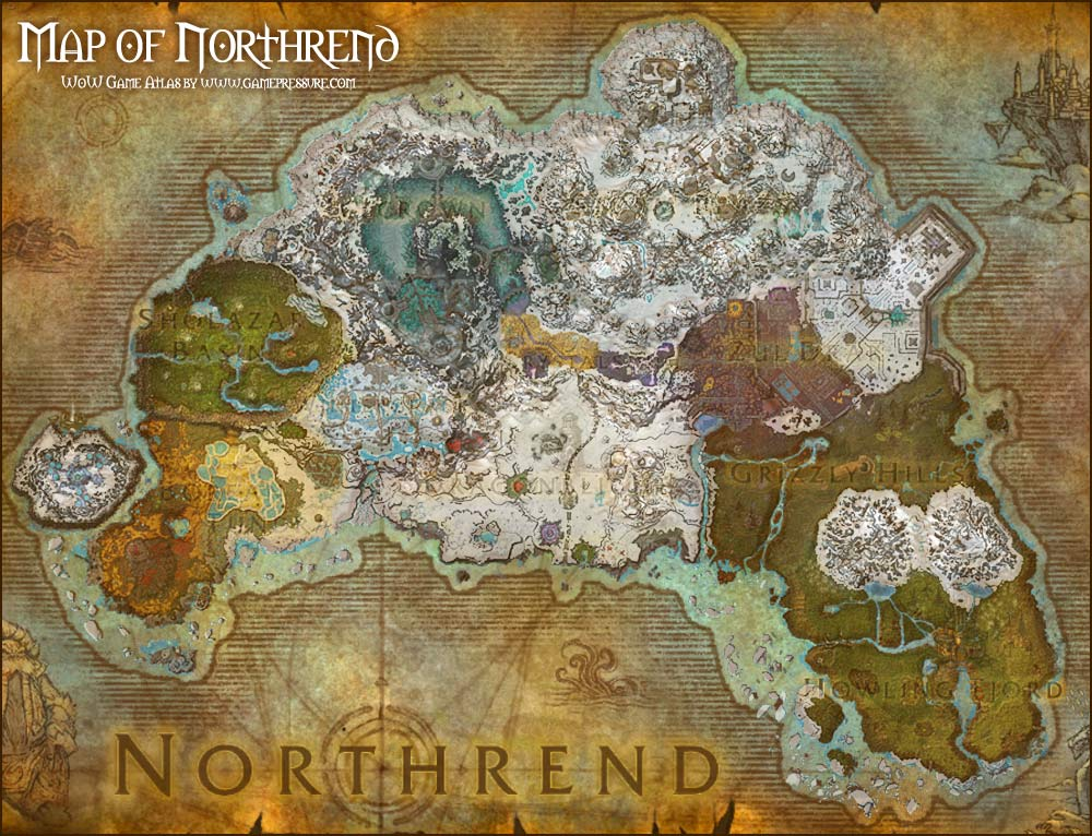 Map of northrend (wrath of the lich king) world of warcraft.