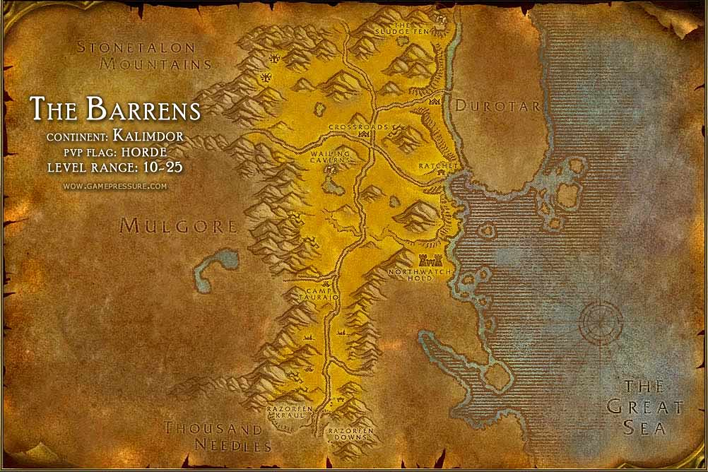 The Barrens Map with Locations, NPCs and Quests - World of