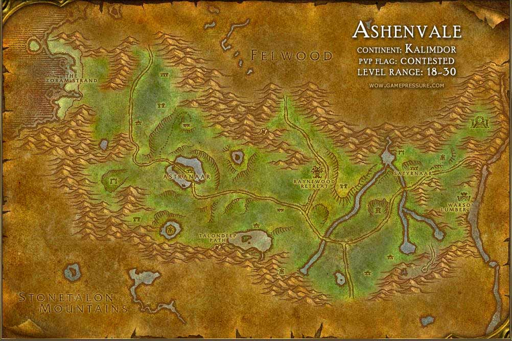 Ashenvale Map with Locations, NPCs and Quests - World of Warcraft