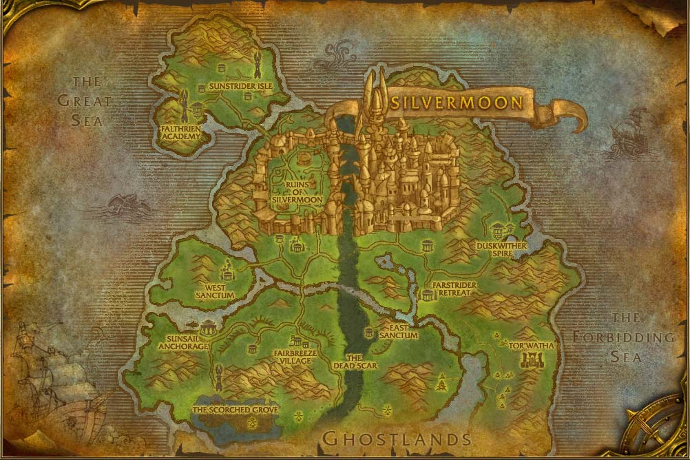 eversong woods map with locations npcs and quests world of warcraft