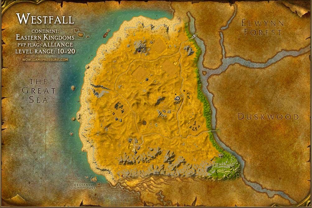 Westfall Map with Locations, NPCs and Quests - World of Warcraft
