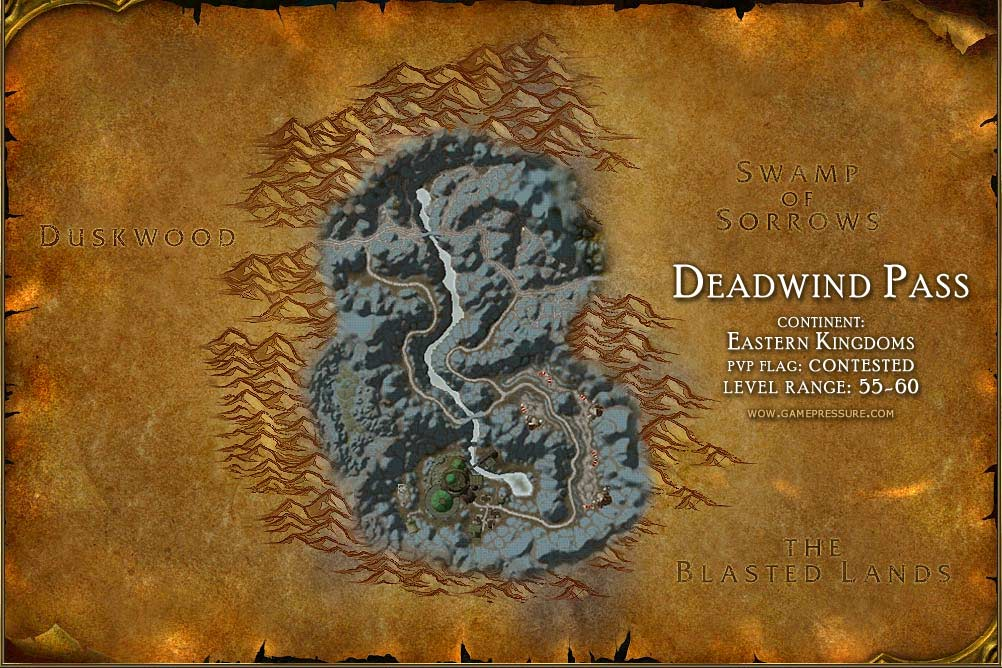 Deadwind Pass Map With Locations Npcs And Quests World Of Warcraft