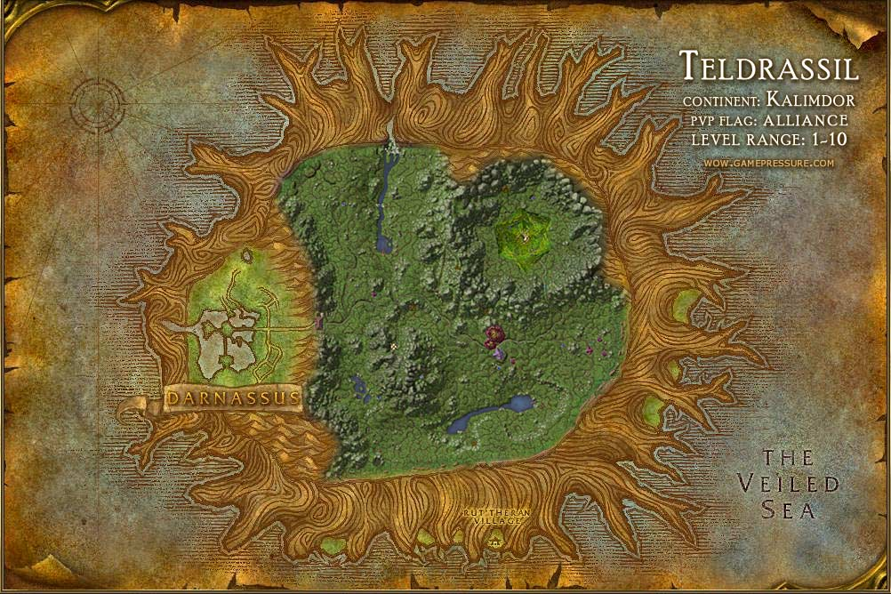 Teldrassil Map with Locations, NPCs and Quests - World of Warcraft