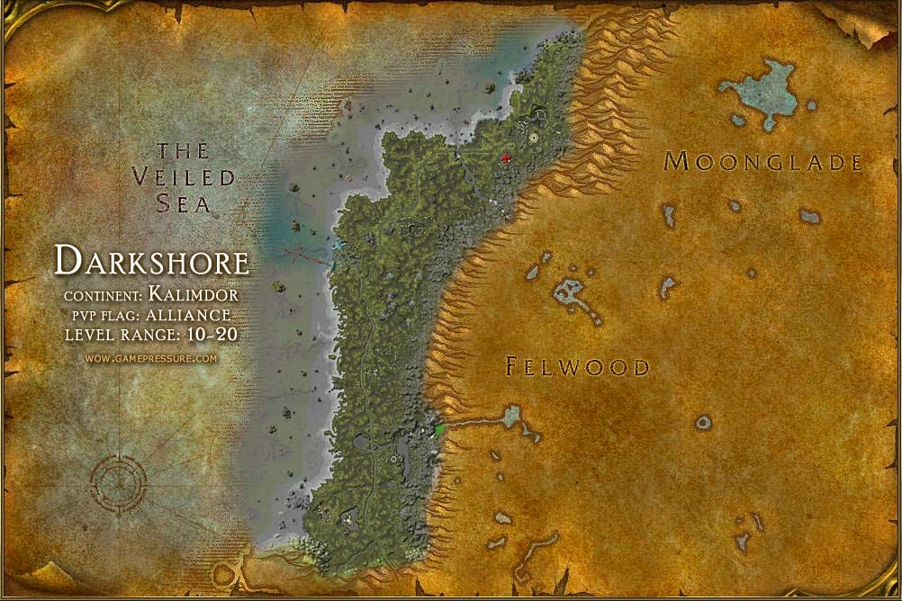 Darkshore Map with Locations, NPCs and Quests - World of Warcraft