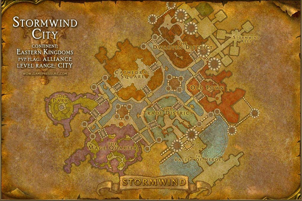 stormwind city map with locations npcs and quests world of warcraft