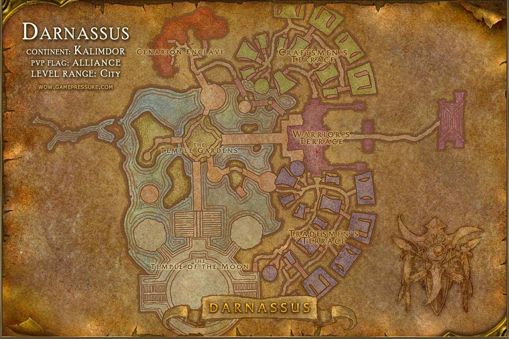 Darnassus Map With Locations Npcs And Quests World Of Warcraft