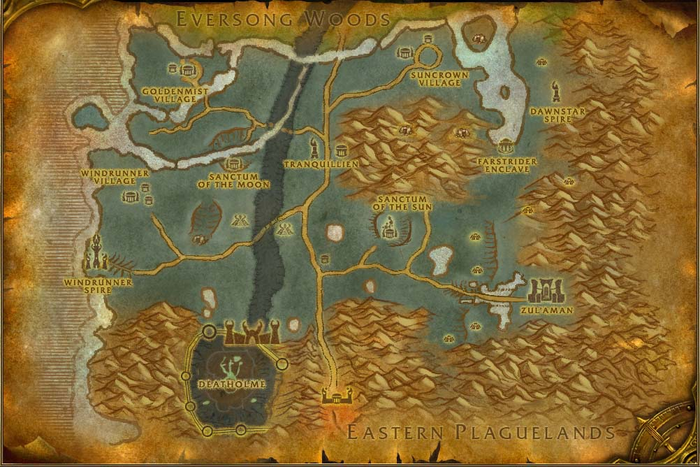 Ghostlands map with locations npcs and quests world of warcraft gumiabroncs Images