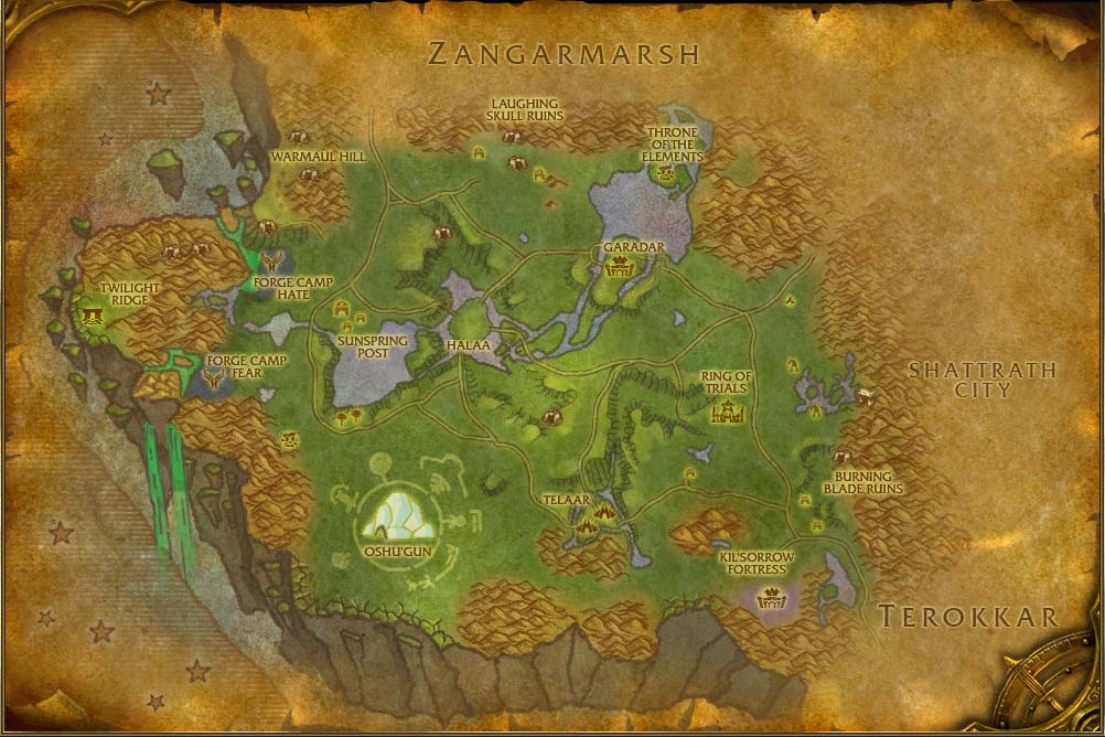Nagrand Map With Locations Npcs And Quests World Of Warcraft